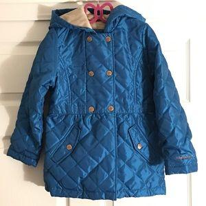 London Fog girl quilted hooded jacket metallic 6X